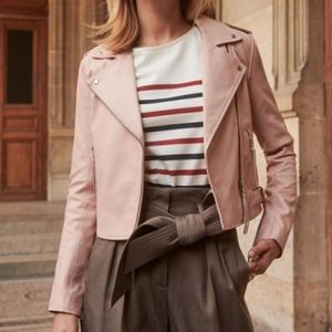 Zig Leather Jacket light pink Sezane